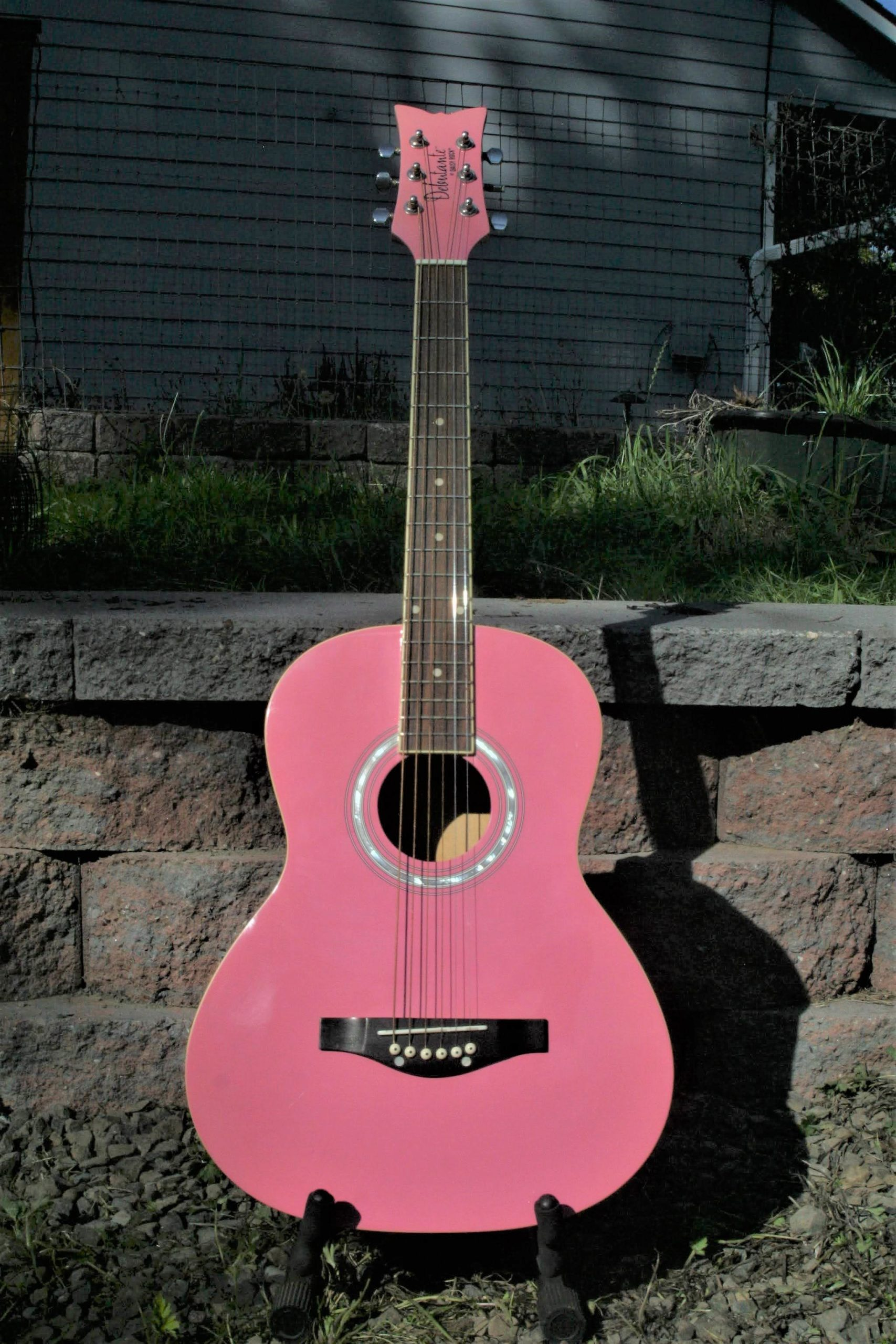 "Debutante by Daisy Rock 3/4 Scale ""Junior Miss"" Acoustic Guitar in Pink with Cream Binding with Accessory Pack"