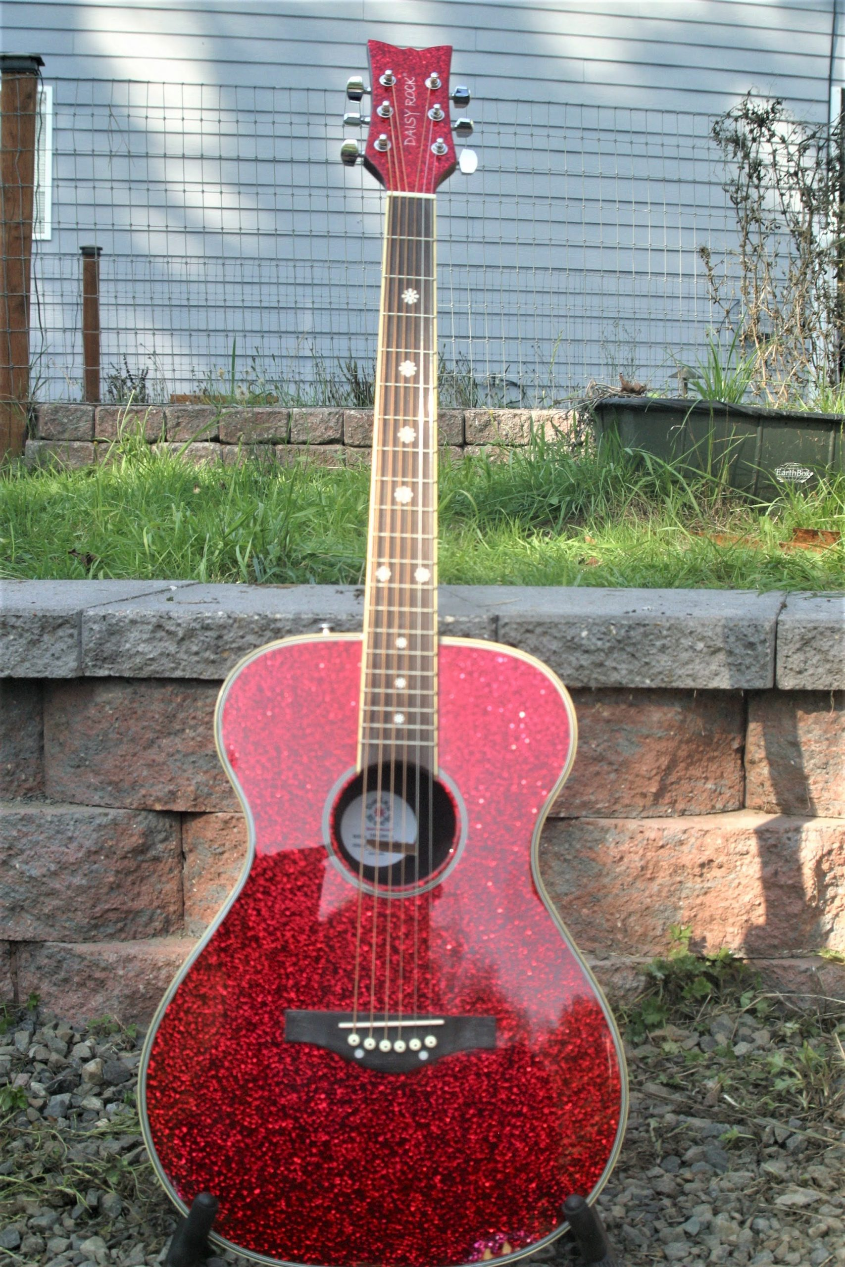 Daisy Rock Pixie Acoustic Guitar in Red Sparkle with Accessory Pack