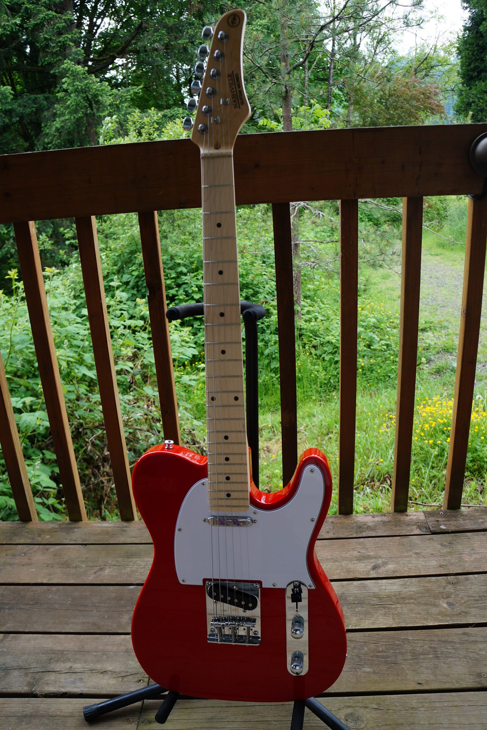 Nashville Guitar Works T-Style Electric: Gloss Red, White Pickguard, Maple Fretboard (NEW) w/ Bag
