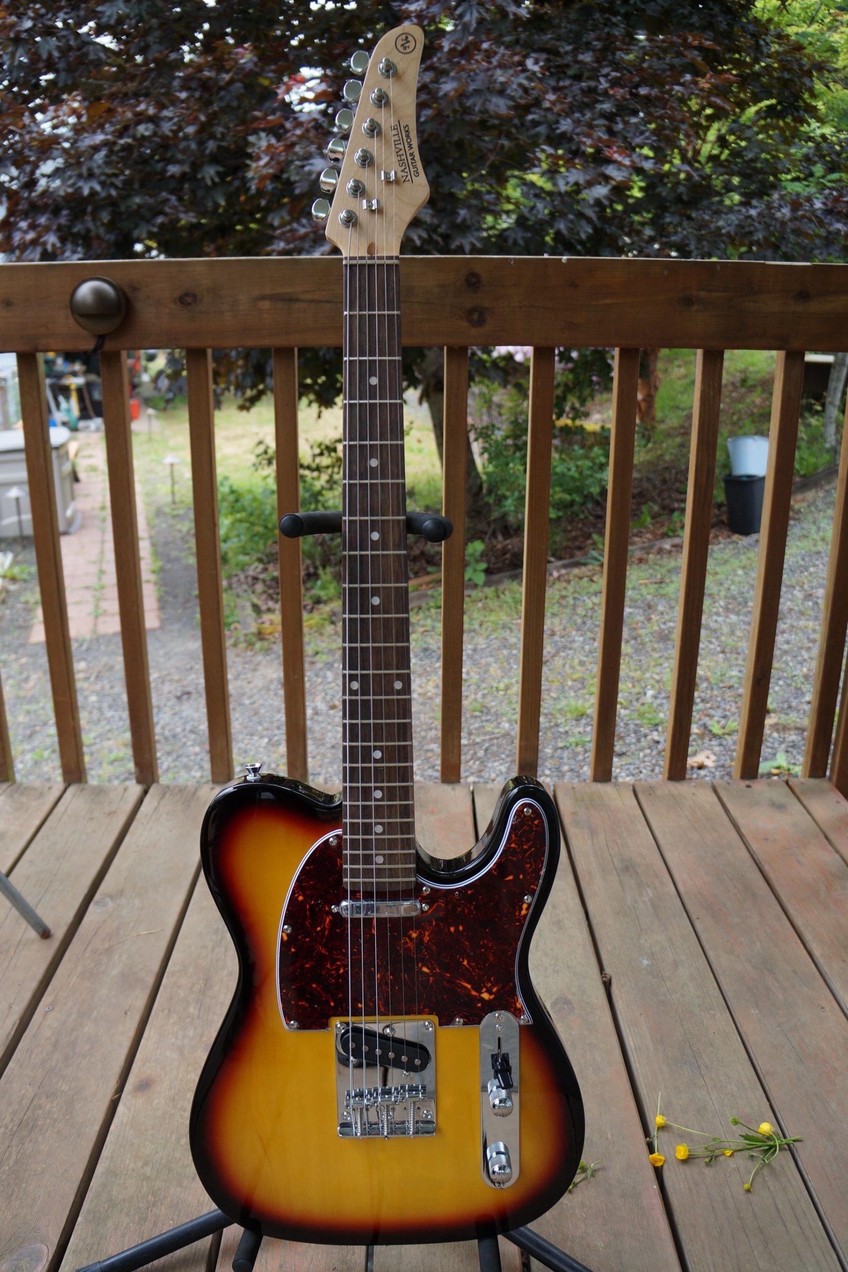 Nashville Guitar Works T-Style Electric: Vintage Sunburst, Tortoise Pickguard, Indian Laurel Fretboard. (NEW) w/ Bag