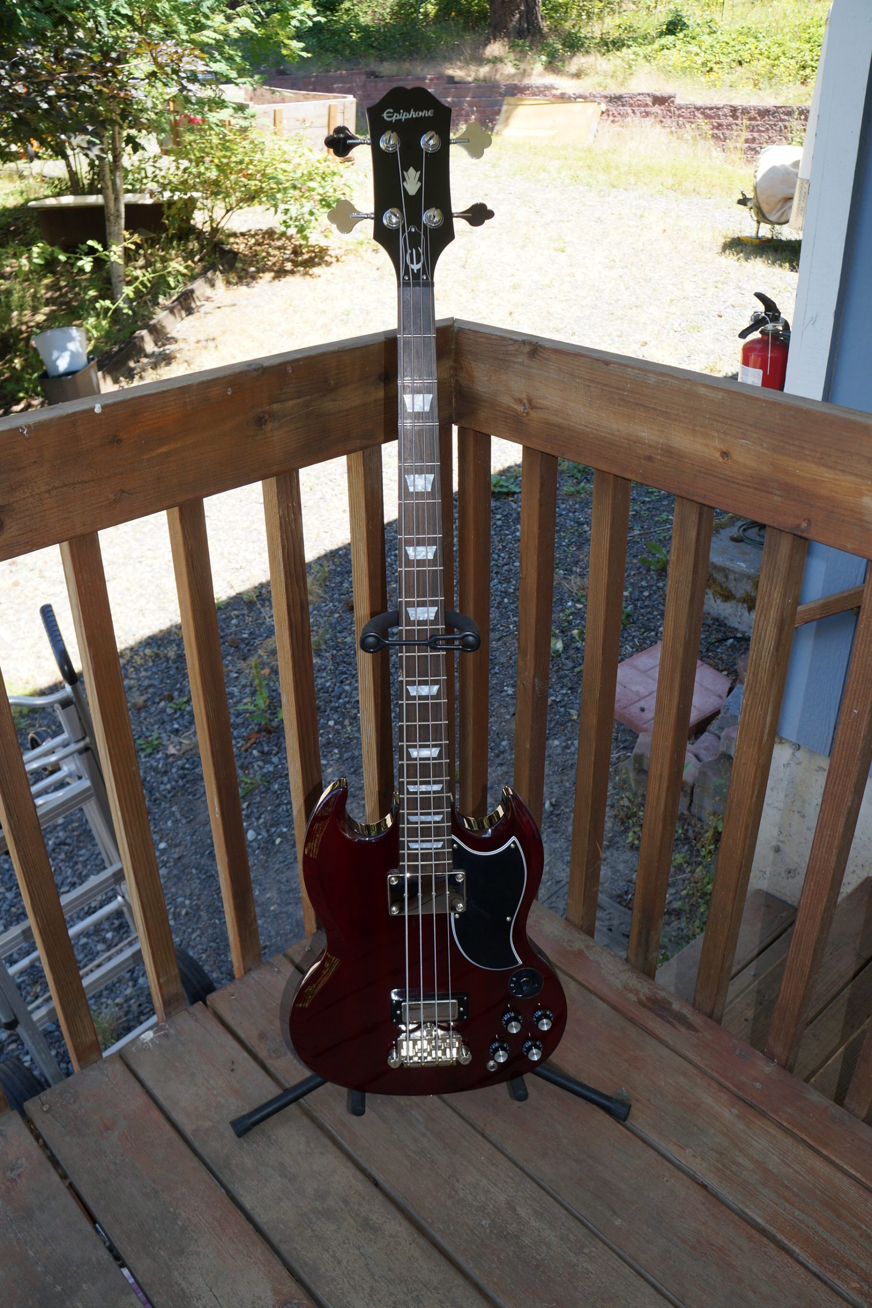 Epiphone 2014 EB3 SG Bass Guitar in Dark Cherry Red – Includes Guardian Gig bag