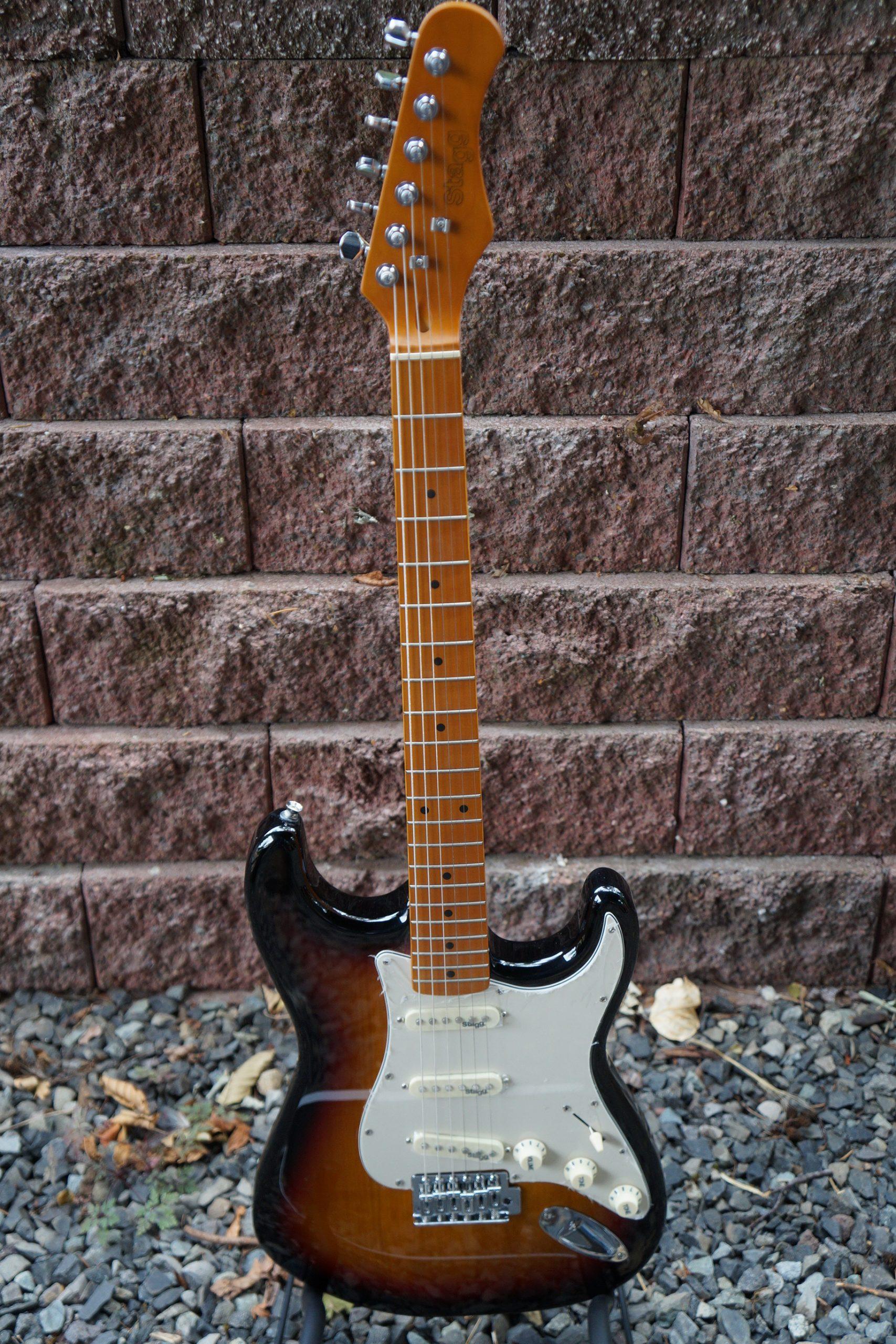 Stagg SES50M Double Cutaway Electric Guitar: Classic Vintage Sunburst Finish